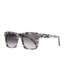 Milan Printed Square Sunglasses, Black/White