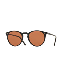 O'Malley NYC Peaked Round Sunglasses, Black