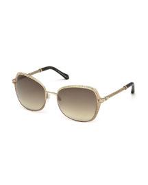 Oversize Square Sunglasses, Bronze