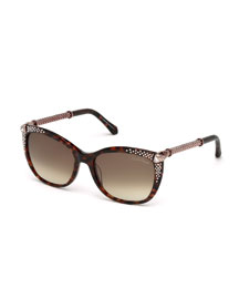 Studded Cat-Eye Sunglasses, Havana