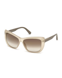 Lindsay Squared Cat-Eye Sunglasses, Opal/Beige