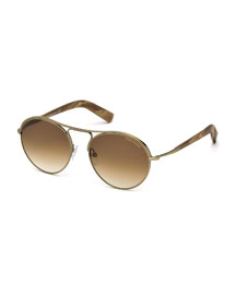 Jessie Rounded Aviator Sunglasses, Light Gold