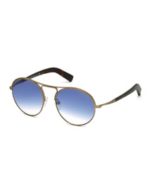 Jessie Rounded Aviator Sunglasses, Matte Brass