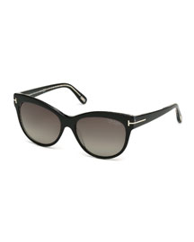 Lily Polarized Cat-Eye Sunglasses, Black
