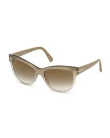 Lily Matte Cat-Eye Sunglasses, Beige/Gray