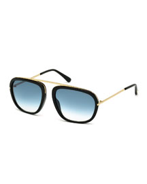 Johnson Squared Aviator Sunglasses, Black