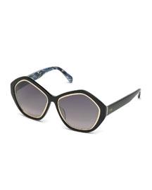 Printed Pentagonal Sunglasses, Black
