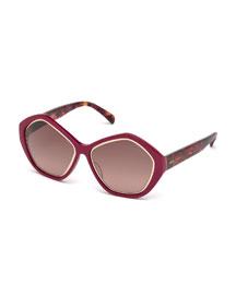Printed Pentagonal Sunglasses, Fuchsia