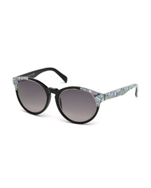 Printed Square Sunglasses, Black