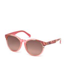 Printed Square Sunglasses, Light Pink