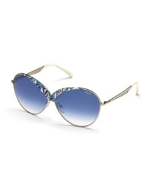 Printed Butterfly Sunglasses, White/Blue