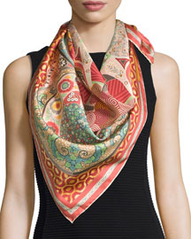 Patterned Silk Square Scarf, Pink/Multicolor