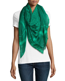 Gandama Voile Square Scarf, Green