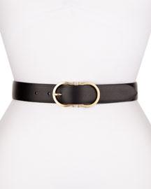 Calf Leather Gancini-Buckle Belt, Black