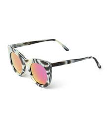 Boca Iridescent Cat-Eye Sunglasses, Horn/Pink