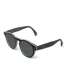 Leonard Streaked Sunglasses, Tuxedo