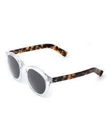 Leonard II Two-Tone Sunglasses, Clear/Tortoise
