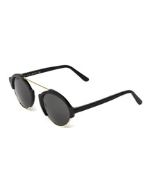 Milan III Round Sunglasses, Black
