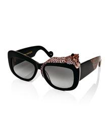 Rose et la Mer Square Sunglasses, Black