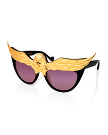 Plated Eaglet Cat-Eye Sunglasses, Black