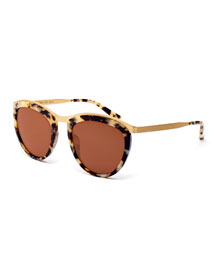 Comic Strip Monochromatic Square Sunglasses, Marble Glam/Gold
