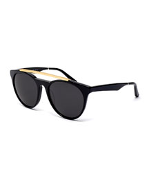 Sugarman Rounded Square Sunglasses, Black/Gold