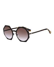 Metal-Rimmed Octagon Sunglasses