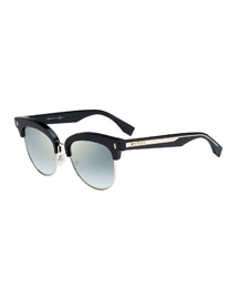 Mirrored Half-Rim Sunglasses