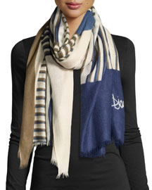 Woven Collage Cashmere Scarf, Blue/Brown