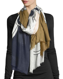 Petal Colorblock Voile Scarf, Blue/Brown