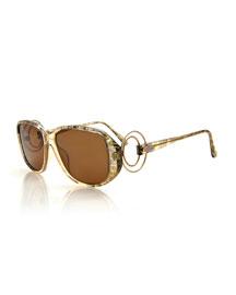 Printed Square Metal-Trim Sunglasses, Beige
