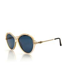 Round Monochromatic Sunglasses, White