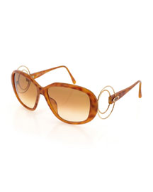 Gradient Oval Acetate Sunglasses, Brown