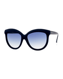 I-Plastik Velvet-Textured Enhanced-Brow Gradient Sunglasses, Navy