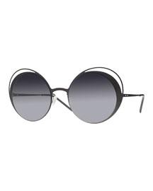 I-Metal Thin Butterfly Sunglasses, Black