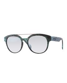 I-Plastik Brushed Brow-Bar Sunglasses, Green