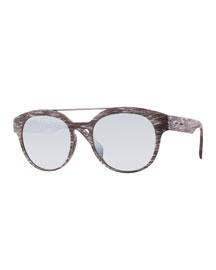 I-Plastik Brushed Brow-Bar Sunglasses, Gray