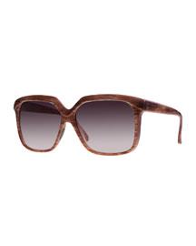 I-Plastik Brushed Square Sunglasses, Brown
