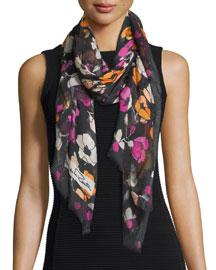 Floral Modal & Cashmere Scarf, Black/Multicolor