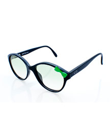 Girls' Cat-Eye Bowed Sunglasses, Black/Green