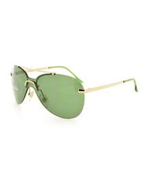 Baby Monochromatic Aviator Sunglasses, Gold/Green