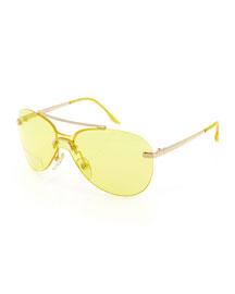 Baby Monochromatic Aviator Sunglasses, Gold/Yellow