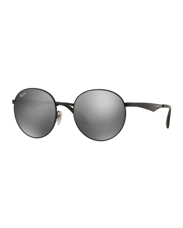 Ray-Ban Round Mirrored Sunglasses, Black/Gray, Black/Grey