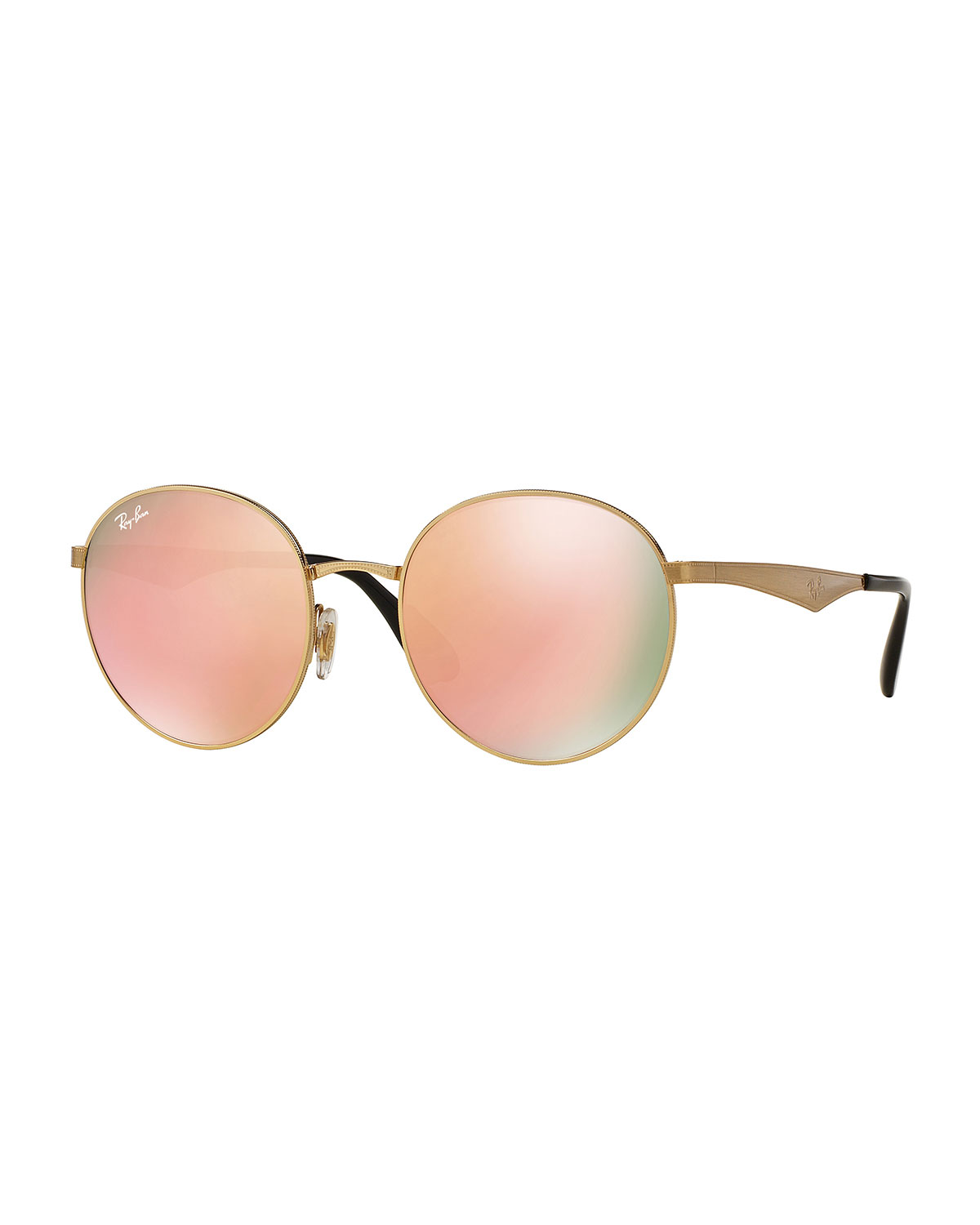 Ray-Ban Round Mirrored Sunglasses, Golden/Pink, Gold/Pink