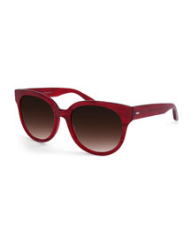 ValleyGirl Gradient Square Sunglasses, Red