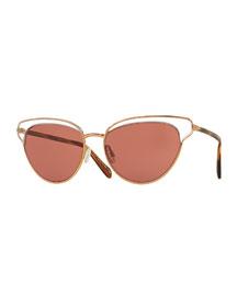 Josa Monochromatic Cat-Eye Sunglasses, Rose Gold