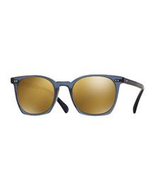 L.A. Coen Square Mirrored Sunglasses, Blue