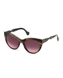 Cat-Eye Twist-Temple Sunglasses, Brown Horn