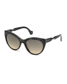 Cat-Eye Twist-Temple Sunglasses, Black Marble