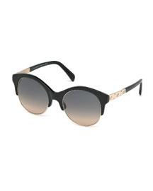 Metal-Trim Gradient Butterfly Sunglasses, Black